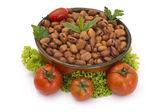 """Libanesische bohnen begangenes"""""""" platte und tomaten — Stockfoto"""