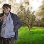 Arabian lebanese man , farmer with thumbs up, clipping path — Stock Photo