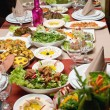 Table with various arabic food served — Stock Photo
