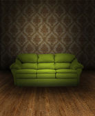 Vintage interior with green sofa — Stok fotoğraf