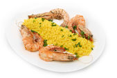 Asian style fried rice with shrimps — Stock Photo