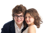 Group shot of brother and sister isolated on white — Stock Photo