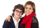 Family shot of Mother and Son Hugging isolated on white background — Stok fotoğraf