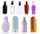 Bottles of health and beauty products — Stock Photo