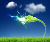 Green plug with electricity — Stock Photo