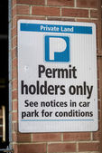 Sign, Permit Holders Only — Stock Photo