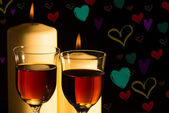Celebration candlelight with wine — Stock Photo