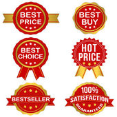 Vector Badges Set 1 (Gold) — Stock Vector