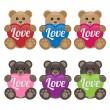 Stock Vector: Teddy Bears with Heart
