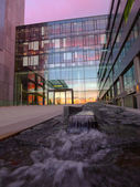 Fountain at office building — Stock Photo