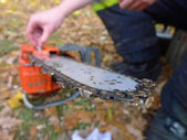 Chainsaw repairing — Stockfoto