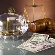 Golden scales of justice, gavel and books ,coins,hourglass — Stock Photo #41277397