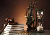 Scales of justice, gavel and books — Stock Photo