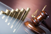 Scales of justice, gavel and books, Legal hourglass — Stock Photo