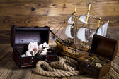 Pirate ship, chests of gold — Stock Photo