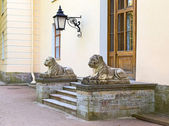 Two lion sculptures and door in Russia — Stock Photo