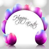 Happy Vector Background with Purple Eggs — ストックベクタ