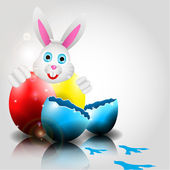 Vector Happy Easter Eggs with Bunny and traces of chicken — Vector de stock