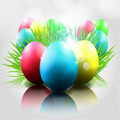 Happy Vector Easter Background with Colorful Eggs grass — Stockvektor