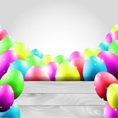 Happy Vector Easter Background with Colorful Eggs and Wooden Board — Stock Vector