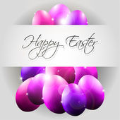 Happy Vector Background with Flying Purple Eggs — Stok Vektör