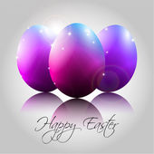 Vector Background with Happy Purple Eggs — Vector de stock