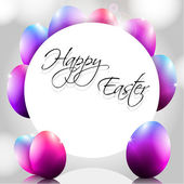 Happy Vector Background with Purple Eggs — Vettoriale Stock