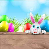 Happy Vector Easter Background with Bunny and Colorful Eggs — Stock Vector