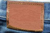 Prázdné kožené džíny popisek — Stock fotografie
