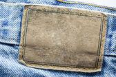 Etichetta di jeans in pelle bianco — Foto Stock