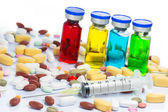 Colourful of Medical ampoules and Syringe — Stock Photo