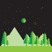 Flat landscape at night — Stock Vector