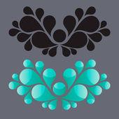 Soyut çiçek öğe, girdap çiçek tasarım, siluet vektör çizim — Stok Vektör