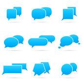 Set of blue speech bubbles, vector illustration — Stock Vector