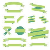 Bänder-set, grünes design, vektor-illustration — Stockvektor