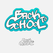 Back to school, graffiti sign, vector illustration — Stock Vector