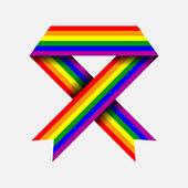 Gay flag, ribbon, vector illustration — Stock Vector