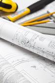 Construction Blueprints — Stock Photo