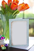 Easter Flowers and Card — Stock Photo