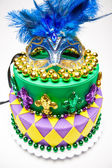 Mardi Gras Cake — 图库照片