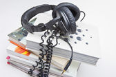 Headphones and Books — Stock Photo