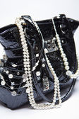 Handbag and Pearls — Stock Photo