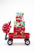 Red Wagon with Presents — Stockfoto