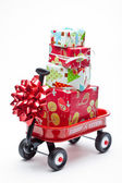 Red Wagon with Presents — 图库照片