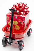 Red Wagon with Presents — Stock Photo