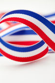 Red White and Blue Ribbon — 图库照片