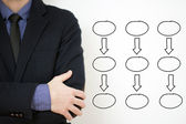 Bussines man with empty diagram — Stock Photo
