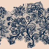 Abstract seamless lace pattern with flowers and butterflies. — Stock Photo