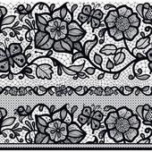 Абстрактный бесшовный кружевной узор с цветами и листьями. — Cтоковый вектор