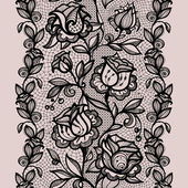 Abstract seamless lace pattern with flowers and leaves. — Stockvektor